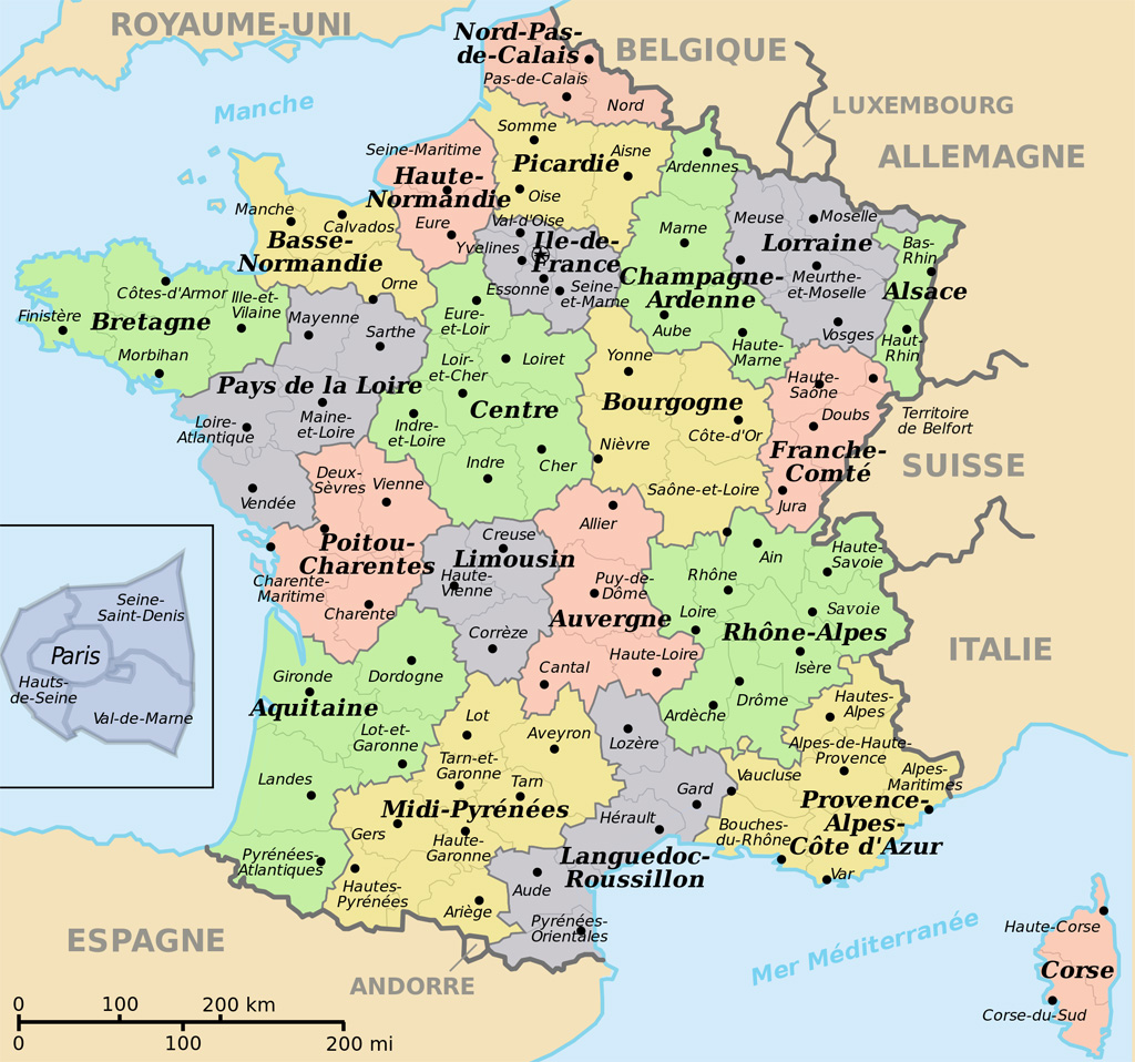 carte de france departements regions