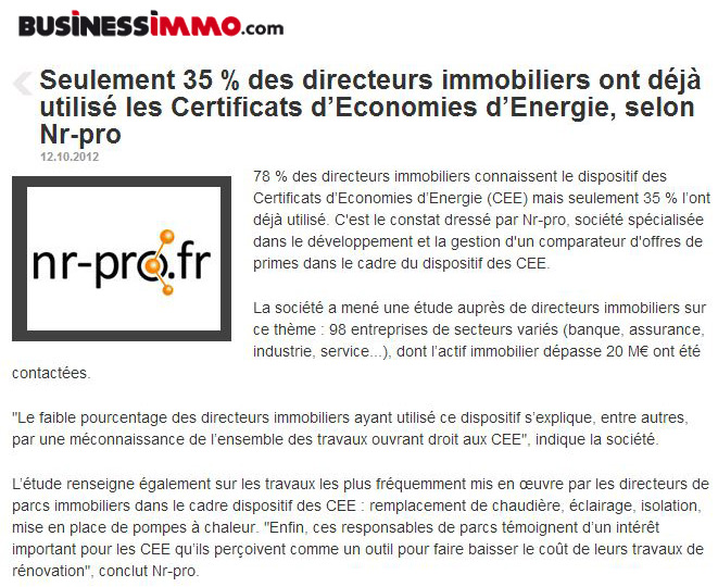 Business Immo (octobre 2012)